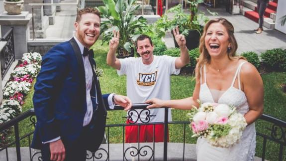 Adam Sandler (and his moustache) photobombs a wedding photo