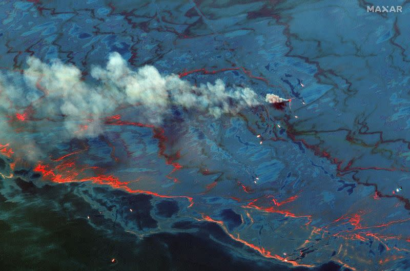 A June 10, 2010 satellite view of the oil spill in the Gulf of Mexico