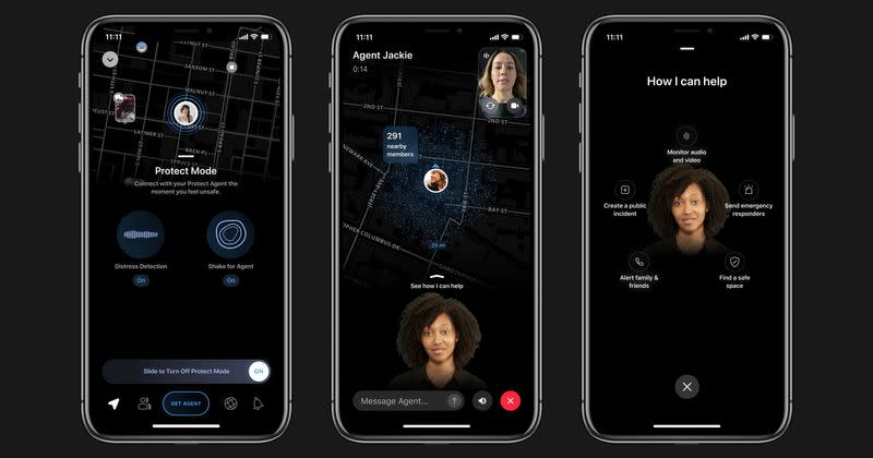 Local crime alert app Citizen's new feature 'Protect', which puts paying subscribers in contact with safety agents, is seen in this handout image provided by the company