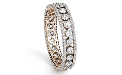 Silver and gold Victorian bracelet featuring 29.80 carats of old-cut diamonds, at Hancocks