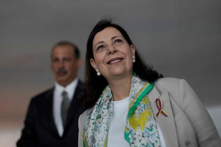 Venezuelan opposition representative Belandria, who was received as her country's official ambassador to Brazil, attends a news conference in Brasilia