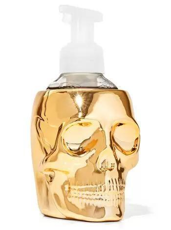 """<p><strong>Bath & Body Works</strong></p><p>bathandbodyworks.com</p><p><strong>$24.95</strong></p><p><a href=""""https://www.bathandbodyworks.com/p/golden-skull-gentle-foaming-soap-holder-026304072.html"""" rel=""""nofollow noopener"""" target=""""_blank"""" data-ylk=""""slk:Shop Now"""" class=""""link rapid-noclick-resp"""">Shop Now</a></p><p>If they can't get enough of Bath and Body Works' handsoaps, treat them to this cool hand soap bottle holder so that even their bathroom is spooktastic.</p>"""
