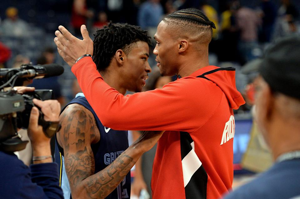 Grizzlies guard Ja Morant, who was the NBA's Rookie of the Year last season, has said he's modeled his game after Russell Westbrook's.