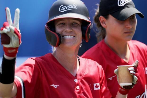 Canada outfielder Victoria Hayward celebrates a run during a game against Australia at the Tokyo Olympics. (Kazuhiro Fujihara/AFP via Getty Images - image credit)