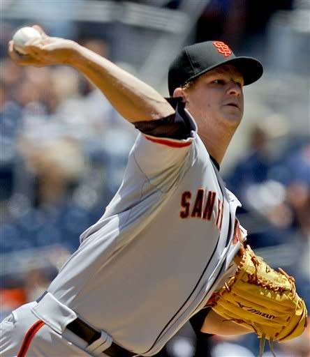 San Francisco Giants starting pitcher Matt Cain works the first inning against the San Diego Padres during a baseball game, Thursday, June 7, 2012, in San Diego. (AP Photo/Lenny Ignelzi)