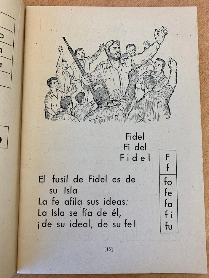 "Pages from manuals given to instructors and students in Cuba as part of Fidel Castro's literacy campaign in 1961. ""F"" is for Fidel."