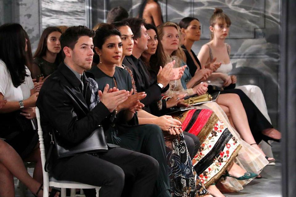 <p>Nick Jonas and Priyanka Chopra sitting front row at the Christian Dior Haute Couture Fall/Winter 2020 show.</p>