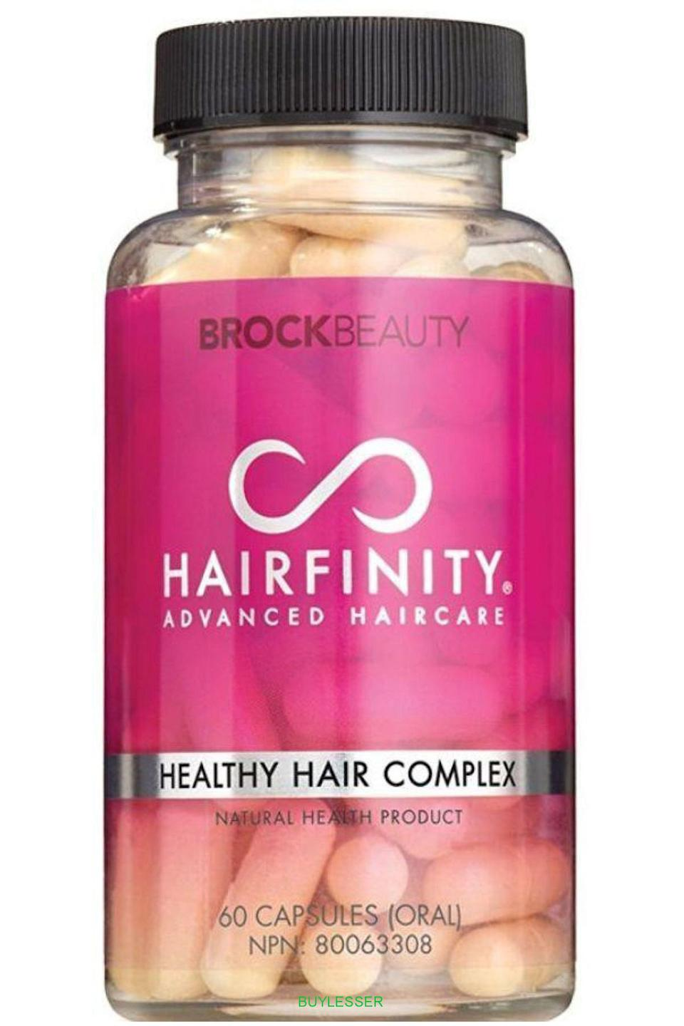 """<p><strong>Hairfinity</strong></p><p>amazon.com</p><p><strong>$23.48</strong></p><p><a href=""""https://www.amazon.com/dp/B00JAJNDZ6?tag=syn-yahoo-20&ascsubtag=%5Bartid%7C10056.g.7807%5Bsrc%7Cyahoo-us"""" rel=""""nofollow noopener"""" target=""""_blank"""" data-ylk=""""slk:Shop Now"""" class=""""link rapid-noclick-resp"""">Shop Now</a></p><p>Each capsule is packed with skin-loving vitamins A and D to help keep the scalp comfy. And since scalp health is essential to the growth of strong, lustrous hair, that infusion of nutrients makes your mile-long hair goals that much easier to achieve.</p>"""