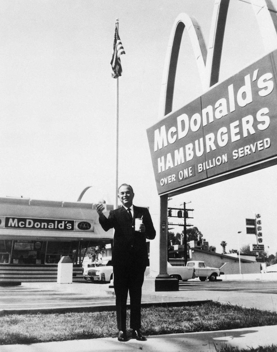 <p>Ray Kroc is seen outside of McDonald's in this 1960 shot. While he was the Founder and Chairman of McDonald's, his relationship with the McDonald's brothers wasn't all hugs and smiles. </p>