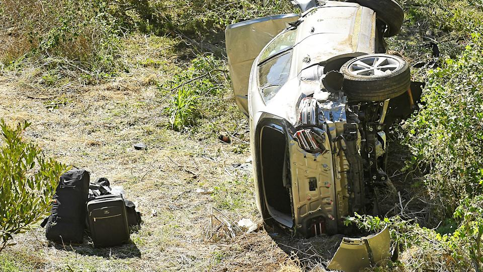 Tiger Woods' car, pictured here after the huge accident.