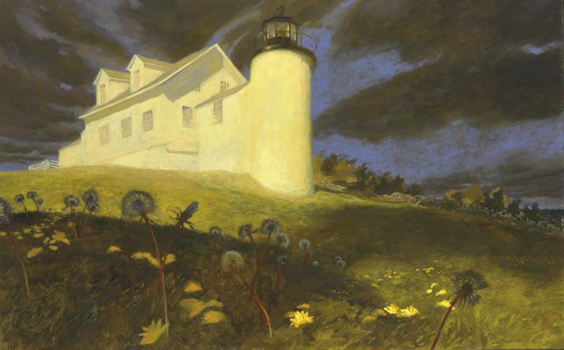 "This image provided by Christie's auction house shows Jaime Wyeth's painting titled ""Lighthouse Dandelions,"" among thirteen paintings by the famous Wyeth family of artists that have sold for just over $2 million at auction Thursday, May 23, 2013 in New York. (AP Photo/Christie's)"