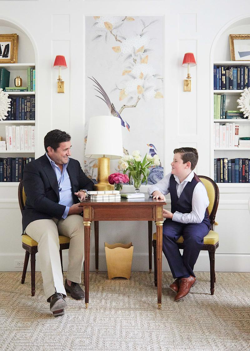 Graham Gilbert and David Phoenix (shown here in Paloma Contreras's contribution to the Kips Bay Decorator Show House) met in West Palm Beach this February.