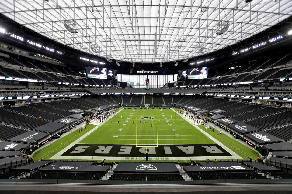 The Las Vegas Raiders kick off to the New Orleans Saints to start Monday night's game. (AP Photo/Isaac Brekken)