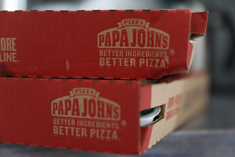MIAMI, FL - JULY 11: In this photo illustration, a Papa John's pizza box is seen on July 11, 2018 in Miami, Florida. The founder of Papa John's pizza, John Schnatter, apologized Wednesday for using the N-word on a conference call in May. (Photo illustration by Joe Raedle/Getty Images)