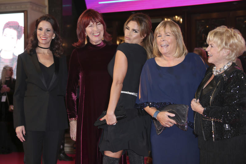 Presenters from left, Andrea McLean, Janet Street-Porter, Katie Price, Linda Robson and Gloria Hunniford poses for photographers upon arrival at the ITV Gala event in London, Thursday, Nov. 24, 2016. (Photo by Joel Ryan/Invision/AP)
