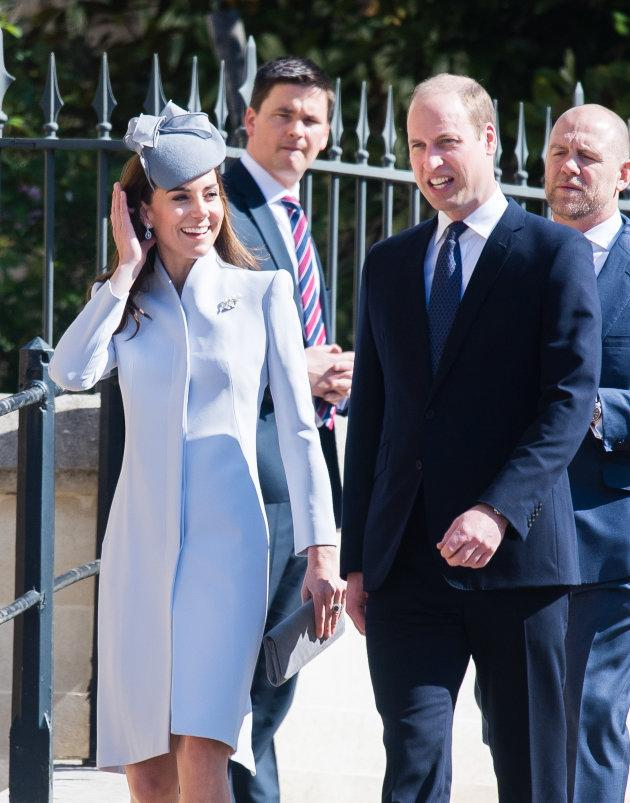 Catherine, Duchess of Cambridge and Prince William, Duke of Cambridge at the Easter Sunday service at St George's Chapel.