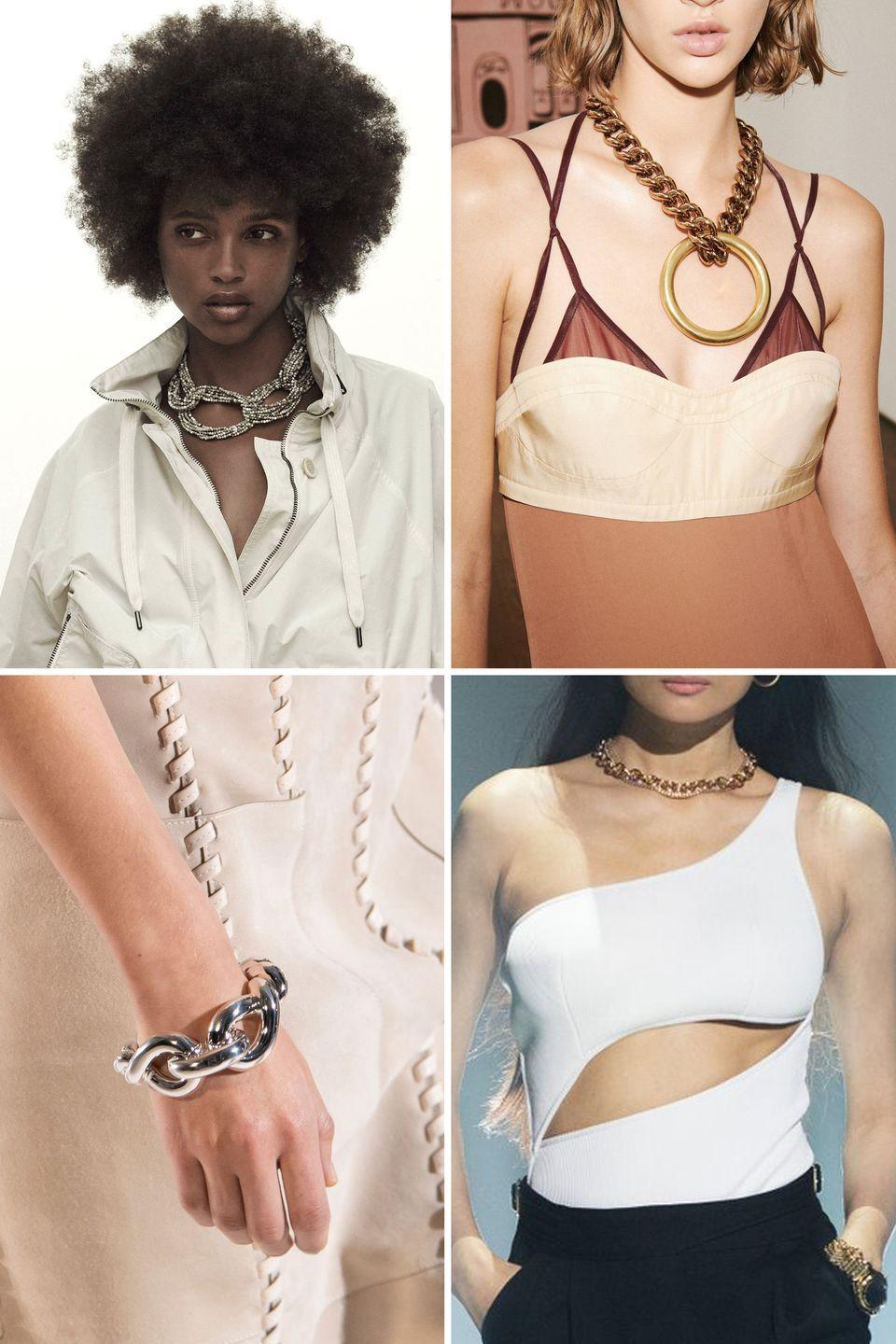 <p>It's safe to say that chains are not a trend. They have appeared in enough collections over several seasons that, at this point, we can call them a staple accessory. The one difference for spring 2021, however, is the width of the links. </p><p>From Victoria Beckham and Brunello Cucinelli to Brandon Maxwell and Hermès, chains were all about being large and in charge. They were bold and commanded attention. Whether it was on a flirty silk slip, complementing a sleek top with cutouts, or paired with a windbreaker, designers proved that chains work for a variety of styles. And even if next season brings more of a dainty selection, rest assured that sizable links will come back time and again. Like the LBD, they are here to stay. </p><p>Looking for a wise jewelry investment? Check out the gang of chains below. </p><p><em>Clockwise from top left: Brunello Cucinelli, Victoria Beckham, Brandon Maxwell, Hermès.</em></p>