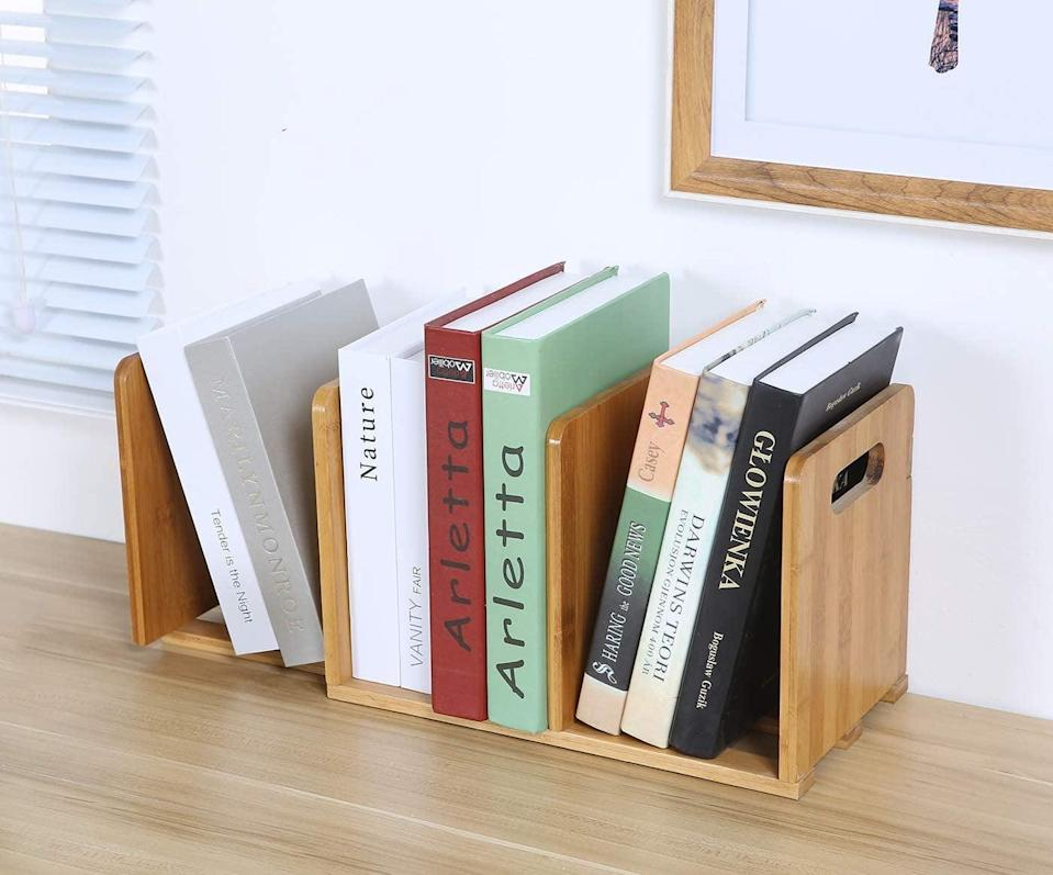 <p>Keep everything organized with this <span>Salafey Expandable Desktop Bookshelf</span> ($25).</p>