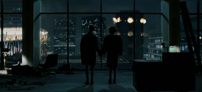 """The Narrator and Maria watching a building explode through a window on """"Fight Club"""""""