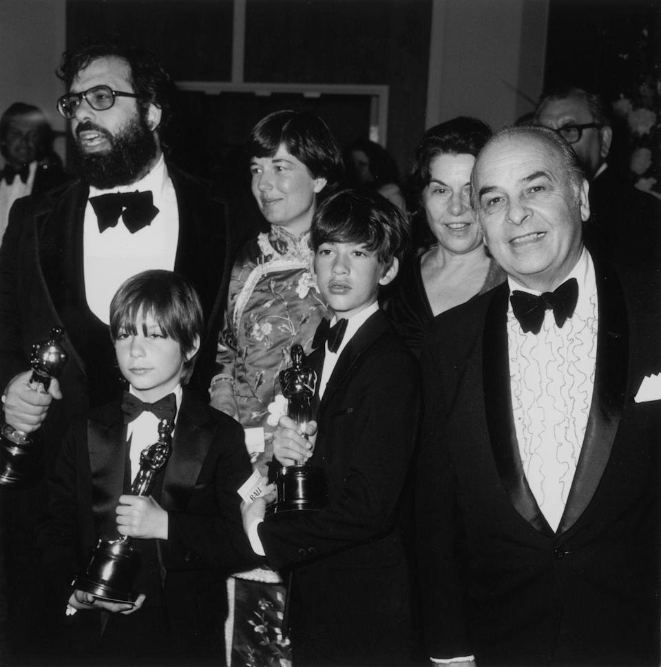<p>Coppola and his family attend the Academy Awards in 1973. During the show, <em>The Godfather </em>won three awards, including Best Adapted Screenplay, Best Actor (Marlon Brando), and the coveted Best Picture.</p>