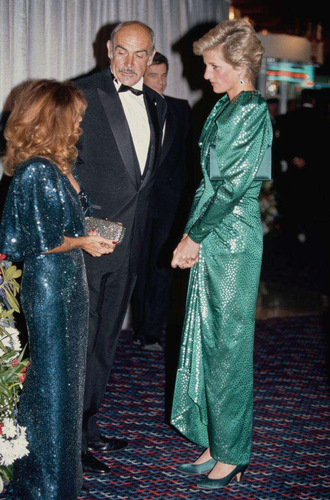 <p>Sean Connery and his wife met Princess Diana at the premiere of <em>The Hunt For Red October</em> in 1990. Both women complimented one another in dazzling sparkles and aqua dresses. </p>