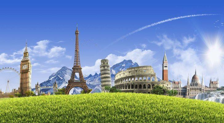 Key cultural landmarks throughout Europe on a hill