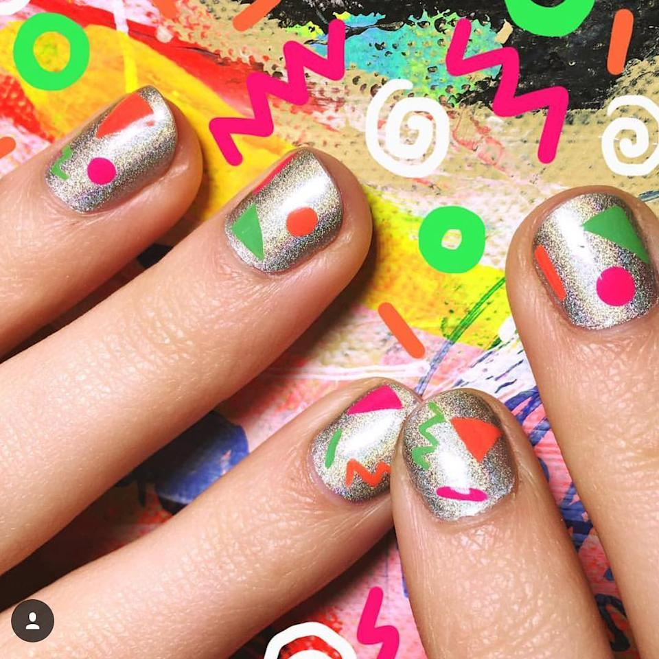 """<p>This '90s-inspired mani is a definite conversation-starter at a themed party. (Photo: <a rel=""""nofollow"""" href=""""https://www.instagram.com/p/BOOc5itA2ol/"""">Instagram/Miss Pop Nails</a>) </p>"""