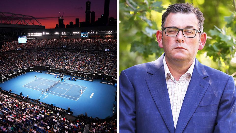 Premier Daniel Andrews (pictured right) during a press conference and (pictured left) Rod Laver Arena during the Australian Open.