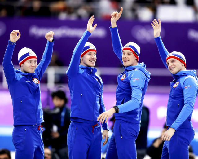 <p>Gold medalist team Norway celebrates on the podium after the Men's Team Pursuit Final Speed Skating race at the 2018 Winter Olympics in PyeongChang, South Korea, on Wednesday, Feb. 21, 2018.<br> (AP Photo/Petr David Josek) </p>
