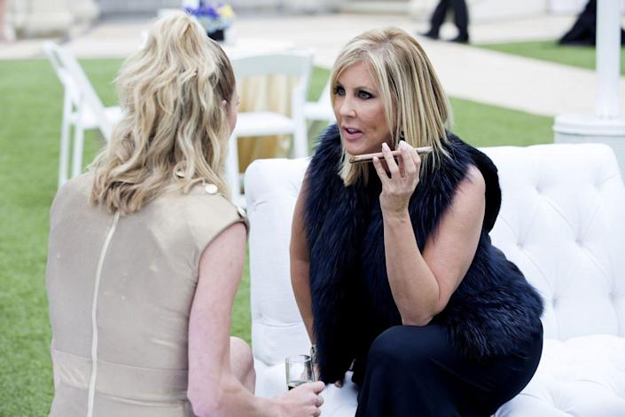 """<p>Have you ever noticed that the Housewives exclusively talk on speakerphone on the show? It's because while they're filming, the producers want to hear both sides of a conversation, you know, since they later share those <a href=""""https://www.thetalko.com/10-things-that-are-totally-fake-about-the-real-housewives-10-that-actually-are-real/"""" rel=""""nofollow noopener"""" target=""""_blank"""" data-ylk=""""slk:phone conversations"""" class=""""link rapid-noclick-resp"""">phone conversations</a> with the whole world.</p>"""