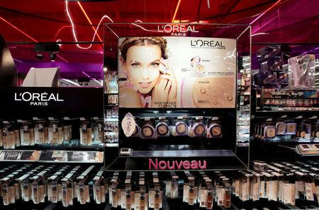 FILE PHOTO: A cosmetic display of French cosmetics group L'Oreal is seen at a Carrefour hypermarket in Nice