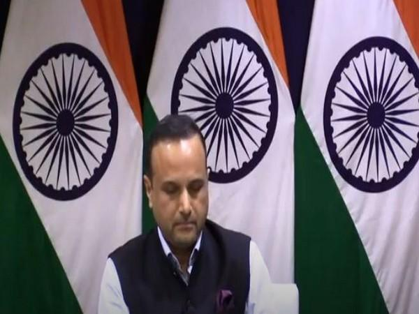 MEA Spokesperson Anurag Srivastava speaking at a weekly press briefing on Thursday. (Photo/ANI)