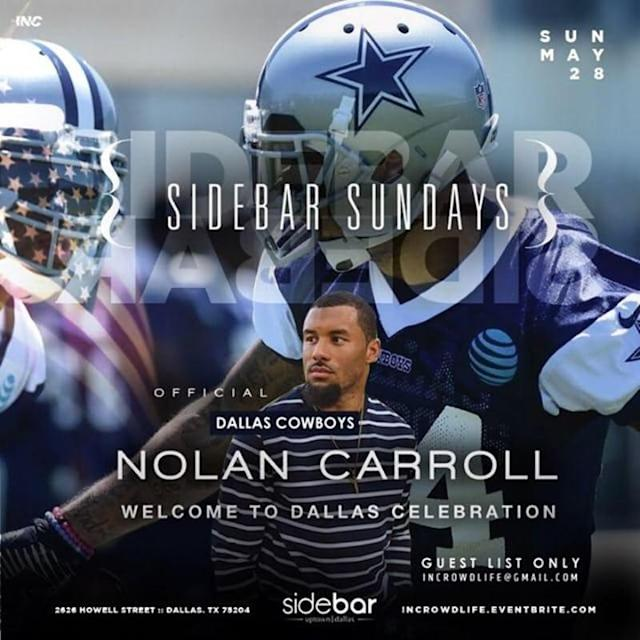 "A ""Welcome to Dallas"" party for new Cowboys DB Nolan Carroll was planned for Sunday night prior to his DWI arrest early Monday. (Dallas Morning News screenshot)"