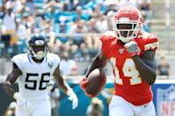 Wide receiver Sammy Watkins #14 of the Kansas City Chiefs runs a pass reception in for a touchdown in the first quarter of the game against the Jacksonville Jaguars at TIAA Bank Field on September 08, 2019 in Jacksonville, Florida. (Photo by Sam Greenwood/Getty Images)