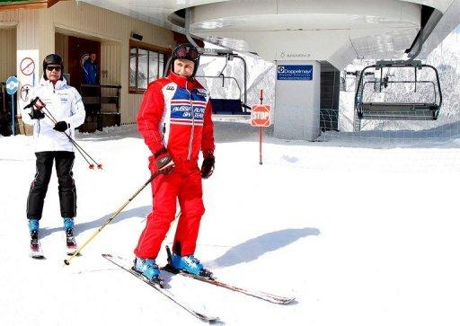 Russian Prime Minister Dmitry Medvedev (left) and President Vladimir Putin pictured in March at the Rosa Khutor resort in Krasnaya Polyana, where the Sochi Winter Olympics alpine skiing events will take place. Ice hockey and skiing-mad Russia on Wednesday set its sights on a top of the podium finish at its home Winter Olympic Games in 2014 after coming 11th two years ago