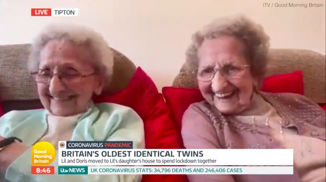 Britain's oldest twins have brought laughter to the GMB studio (ITV/Good Morning Britain)