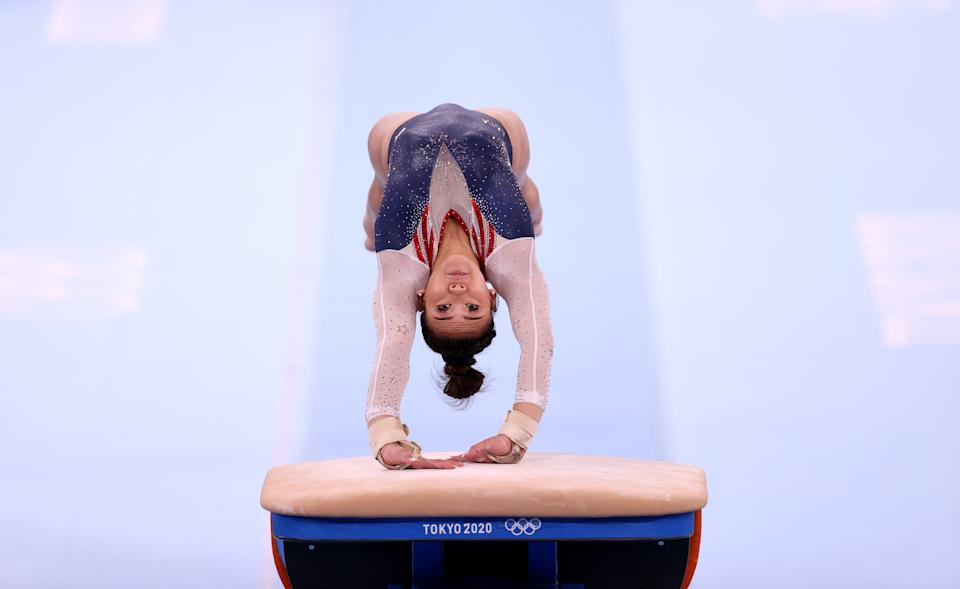 <p>TOKYO, JAPAN - JULY 29: Sunisa Lee of Team United States warms up prior to competing on vault during the Women's All-Around Final on day six of the Tokyo 2020 Olympic Games at Ariake Gymnastics Centre on July 29, 2021 in Tokyo, Japan. (Photo by Laurence Griffiths/Getty Images)</p>