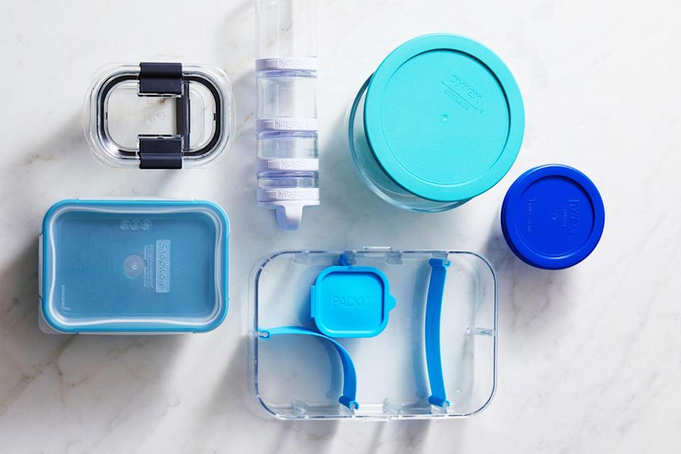 "<p>It's easy to have a love/hate relationship with food storage containers. They can feel cheap and flimsy, the lids are often impossible to find, and the sets can feel like they take up a whole cabinet. But a good food storage container makes all the difference: You can neatly refrigerate <a href=""https://www.goodhousekeeping.com/food-recipes/a28377603/how-to-meal-prep/"" rel=""nofollow noopener"" target=""_blank"" data-ylk=""slk:meal prepped"" class=""link rapid-noclick-resp"">meal prepped</a> servings, take <a href=""https://www.goodhousekeeping.com/food-recipes/healthy/g960/healthy-lunch-ideas/"" rel=""nofollow noopener"" target=""_blank"" data-ylk=""slk:healthy lunch leftovers"" class=""link rapid-noclick-resp"">healthy lunch leftovers</a> to work, reheat, and even serve food out of some. A good storage container should have an airtight seal, and even better if it's leakproof for <a href=""https://www.goodhousekeeping.com/food-recipes/easy/g26102687/instant-pot-soups/"" rel=""nofollow noopener"" target=""_blank"" data-ylk=""slk:food like soup."" class=""link rapid-noclick-resp"">food like soup.</a> We like ones that can be stored easily and stack on top of each other with little risk of slipping. </p><p>In the <a href=""https://www.goodhousekeeping.com/institute/about-the-institute/a19748212/good-housekeeping-institute-product-reviews/"" rel=""nofollow noopener"" target=""_blank"" data-ylk=""slk:Good Housekeeping Institute,"" class=""link rapid-noclick-resp"">Good Housekeeping Institute, </a>we test food storage containers for air-tightness, leak-proof ability, and staining. We also test how they hold up in the freezer, microwave, and dishwasher if they're designed to do so. While all of the containers below have not been tested in our Lab, we've used them all and they've stood up to the even bigger test of time and real-life use. Our favorite picks, below, include an array of plastic, glass, and silicone bags intended to replace disposable baggies. </p><h2 class=""body-h2"">How to find the best food storage container</h2><p>Before you start scrolling, here are some details to consider when shopping for food storage containers: <br></p><ul><li><strong>Material: </strong>Glass and plastic are two of the most common food storage options. Glass tends to have more uses and can often be used in the oven, while plastic cannot. The trade-off is that glass is heavier and can break, which doesn't make it the best for taking on the go. Though most plastic is now BPA-free and perfectly safe, some consumers still believe glass to be the ""safer"" option to avoid any possibility of chemical leaching. </li><li><strong>Shape: </strong>Most food storage containers are round or rectangular. Round are more ideal for salads and liquids while rectangular ones are great for meats and sides, plus the straight edges stack neatly without wasting space. Round or rectangular, we love containers with straight edges versus flared to avoid hogging up extra, unnecessary room in your fridge and cabinets.</li><li><strong>Lids:</strong> A lid that doesn't seal is a dealbreaker. Some simply press down to close while others have clasps on the sides. We tend to prefer lids without clasps because they're thinner and store easier, but it's worth noting that the clasps offer an extra source of leak-protection.</li></ul><p>Below are the best storage containers you can buy in 2021<strong>:</strong></p>"
