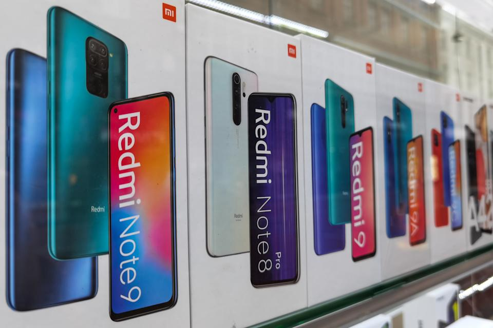 Shop window with Xiaomi products including latest Redmi Note phones.  On Saturday, 8 May 2021, in Dublin, Ireland. (Photo by Artur Widak/NurPhoto via Getty Images)