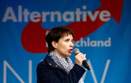 FILE PHOTO: Anti-immigration party Alternative for Germany (AfD) chairwoman Frauke Petry delivers her keynote speech at the AfD's election campaign launch for the upcoming North Rhine-Westphalian federal state elections in Essen, Germany April 8, 2017. REUTERS/Wolfgang Rattay /File Photo