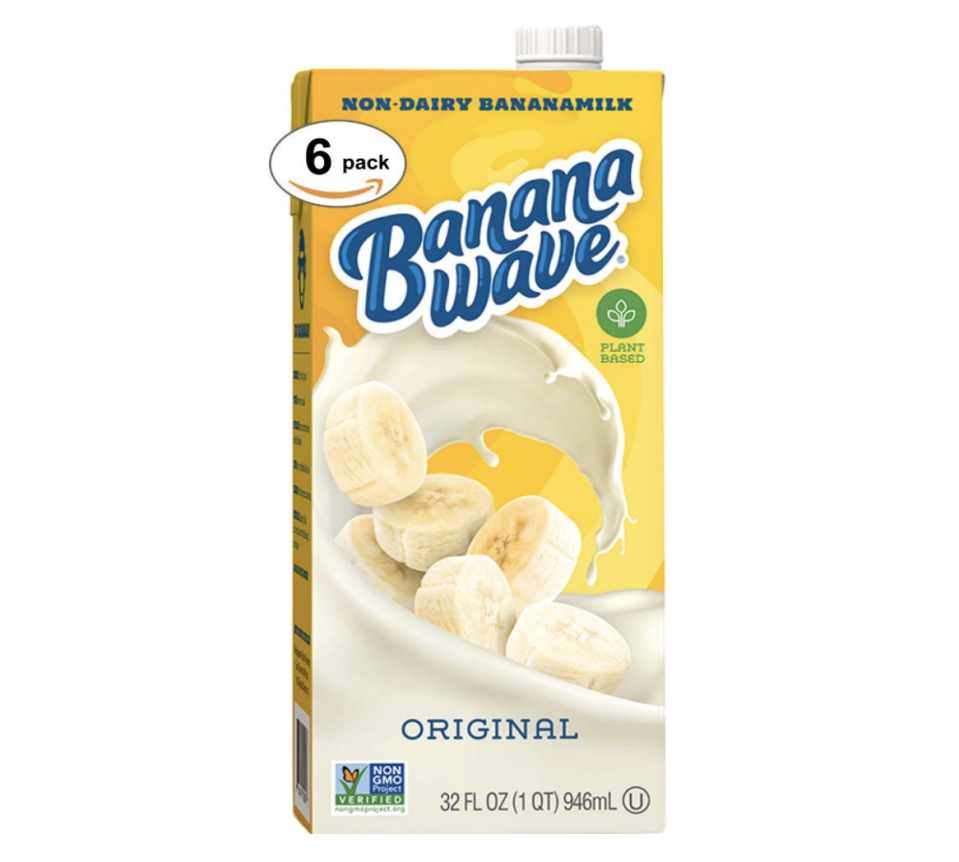 "<p><strong>Banana Wave</strong></p><p>amazon.com</p><p><strong>$24.99</strong></p><p><a href=""https://www.amazon.com/dp/B089KVYLRV?tag=syn-yahoo-20&ascsubtag=%5Bartid%7C10055.g.35886676%5Bsrc%7Cyahoo-us"" rel=""nofollow noopener"" target=""_blank"" data-ylk=""slk:Shop Now"" class=""link rapid-noclick-resp"">Shop Now</a></p><p>This low-calorie shelf-stable beverage is made from real bananas and oats. <strong>Packed with vitamins and minerals, this plant-based drink is also fat-free and cholesterol-free. </strong>This choice is Non-GMO Project Verified and has a powerful banana flavor that works well over cereal or in smoothies. </p>"