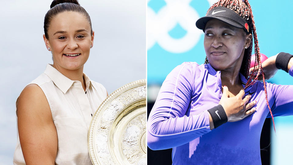 Naomi Osaka and Ash Barty, pictured here in the lead-up to the Tokyo Olympics.