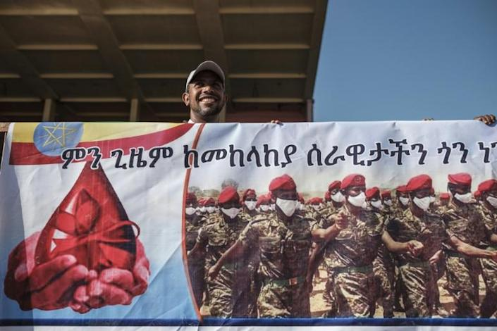 Support the troops: A banner at Thursday's blood donation rally