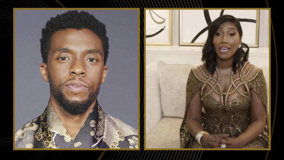 """In this video grab issued Sunday, Feb. 28, 2021, by NBC, Taylor Simone Ledward Boseman, right, accepts the award for best actor in a motion picture drama for """"Ma Rainey's Black Bottom"""" on behalf of her late husband Chadwick Boseman, pictured on Screen at left, at the Golden Globe Awards. (NBC via AP)"""