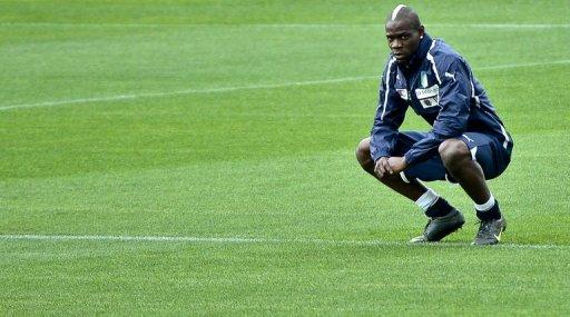 Italy's forward Mario Balotelli, looks on during a training session ahead of the Euro 2012