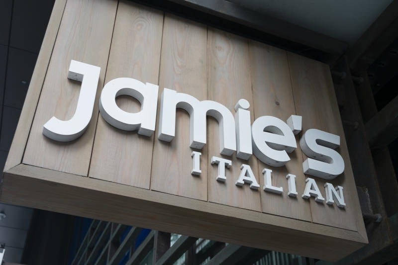 Jamie's Italian sign in London, England, United Kingdom. (photo by Mike Kemp/In Pictures via Getty Images Images)
