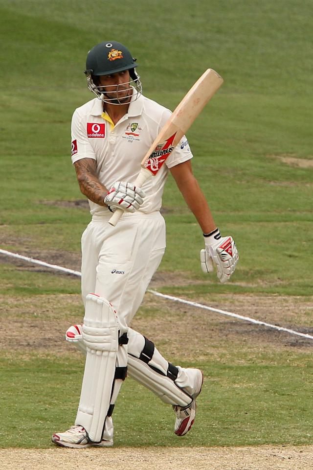 MELBOURNE, AUSTRALIA - DECEMBER 27:  Mitchell Johnson of Australia celebrates his half century during day two of the Second Test match between Australia and Sri Lanka at Melbourne Cricket Ground on December 27, 2012 in Melbourne, Australia.  (Photo by Robert Prezioso/Getty Images)