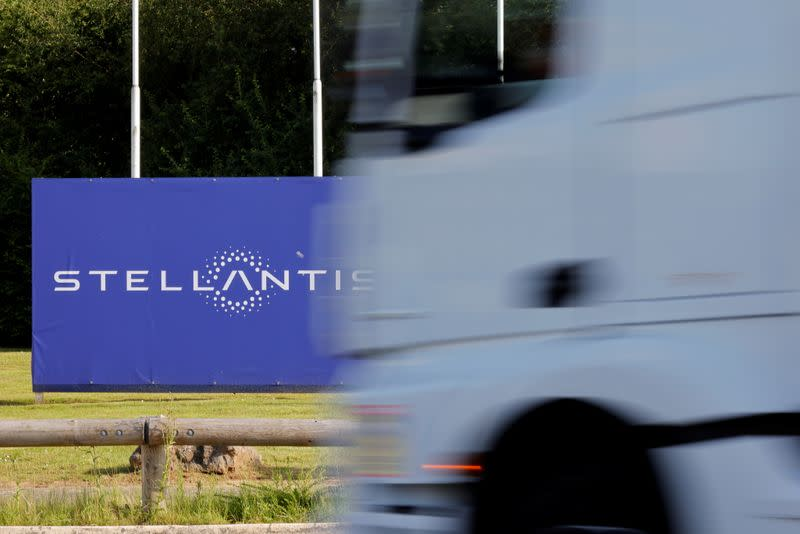 FILE PHOTO: The logo of Stellantis at the entrance of the company's factory in Hordain