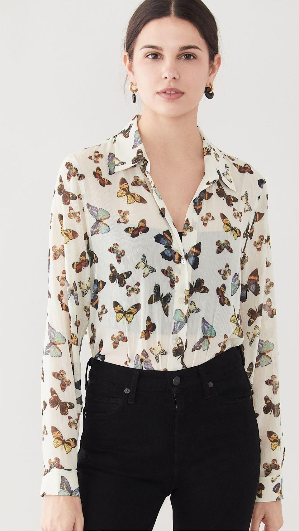 """<p><strong>L'AGENCE</strong></p><p>shopbop.com</p><p><strong>$275.00</strong></p><p><a href=""""https://go.redirectingat.com?id=74968X1596630&url=https%3A%2F%2Fwww.shopbop.com%2Flaurent-blouse-lagence%2Fvp%2Fv%3D1%2F1535941731.htm&sref=https%3A%2F%2Fwww.townandcountrymag.com%2Fsociety%2Ftradition%2Fg37148297%2Froyal-family-printed-clothes-shop%2F"""" rel=""""nofollow noopener"""" target=""""_blank"""" data-ylk=""""slk:Shop Now"""" class=""""link rapid-noclick-resp"""">Shop Now</a></p><p>With a white background and colorful butterflies, L'Agence's blouse has a print nearly identical to Queen Mathilde's. Plus, it's a great office-to-dinner transition piece. </p>"""