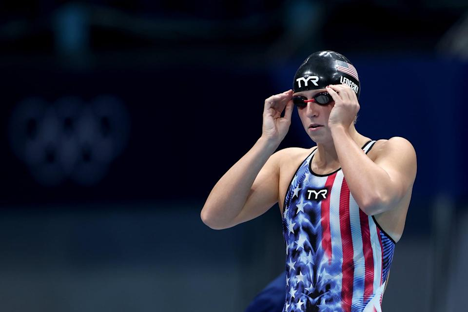 """<p>In Tokyo, three-time Olympian Katie Ledecky added four medals to her already impressive collection, including <a href=""""https://www.popsugar.com/fitness/how-many-olympic-medals-has-katie-ledecky-won-47227131"""" class=""""link rapid-noclick-resp"""" rel=""""nofollow noopener"""" target=""""_blank"""" data-ylk=""""slk:a record sixth career individual gold"""">a record sixth career individual gold</a> - more than any other woman in her sport. Here's how to dress up as one of USA Swimming's biggest stars.</p> <ul> <li><span>American Trends One Piece Swimsuit</span> ($30, originally $33)</li> <li><span>TYR Katie Ledecky Silicone Adult Swim Cap</span> ($15)</li> <li><span>TYR Edge-X Racing Mirrored Adult Goggles</span> ($25)</li> </ul>"""